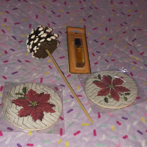 Christmas Set: 4 coasters, pinecone decor, oil